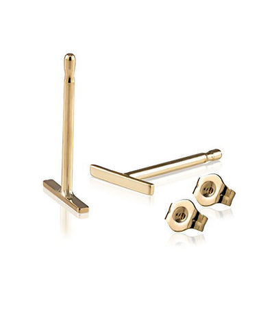 Solid 14K Gold Tiny Bar Earrings