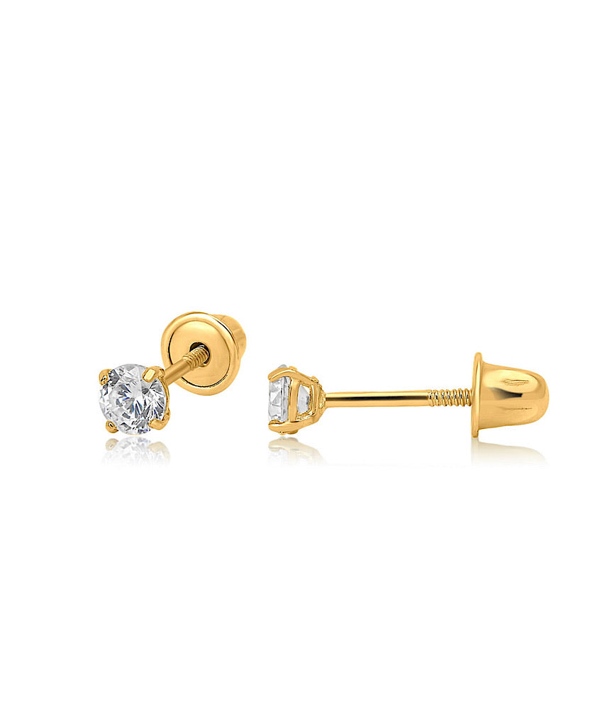 14K Solid Gold Tiny Stud Earrings
