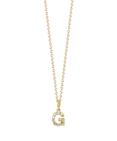 Solid 14K Gold TINY Diamond Initial Necklace