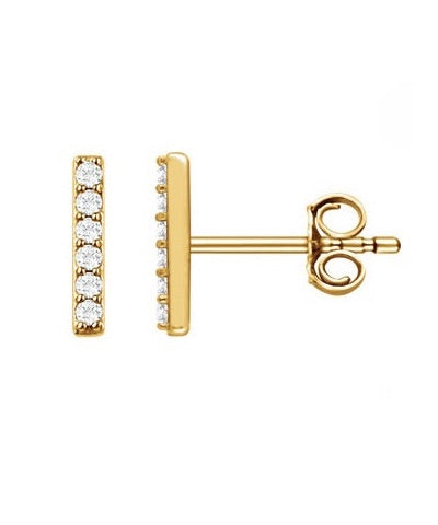 Diamond Bar 14K Studs
