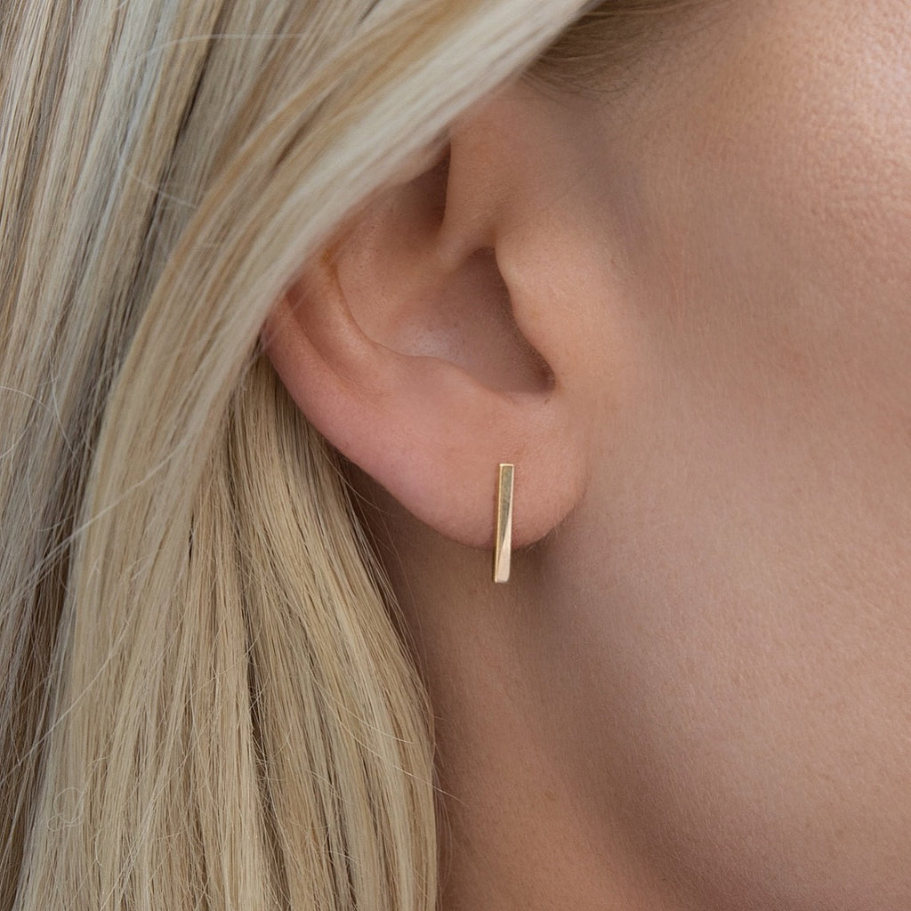 14K Gold Long Bar Studs