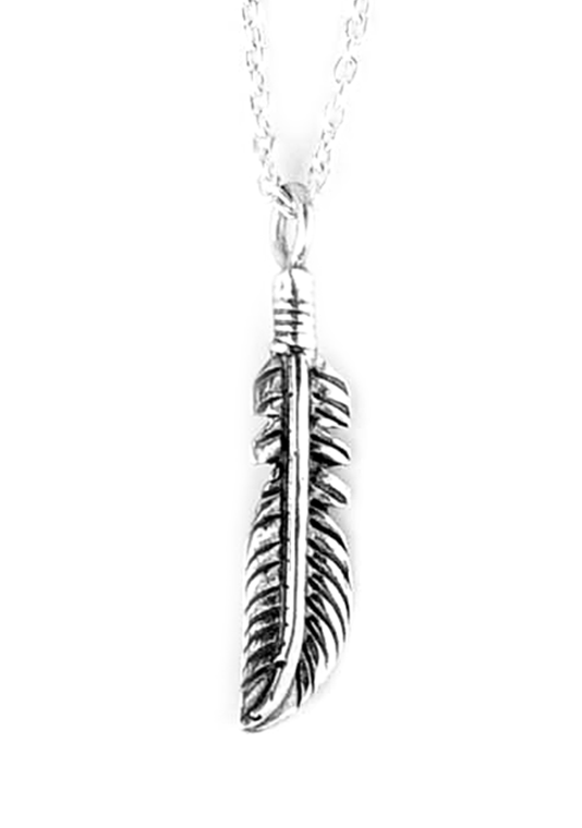 Sterling Silver Oxidized Feather Necklace