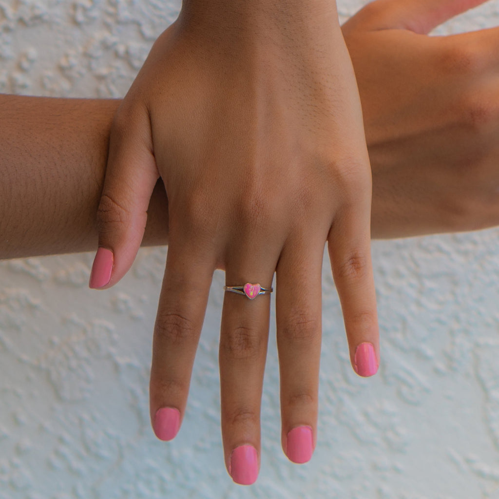 LR100sm - PINK OPAL HEART RING