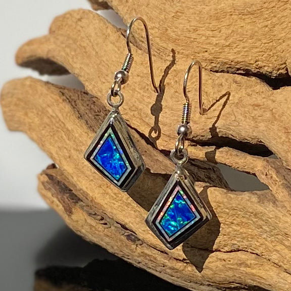 280ER - CARIBBEAN BLUE OPAL AND WHITE FIRE OPAL EARRINGS