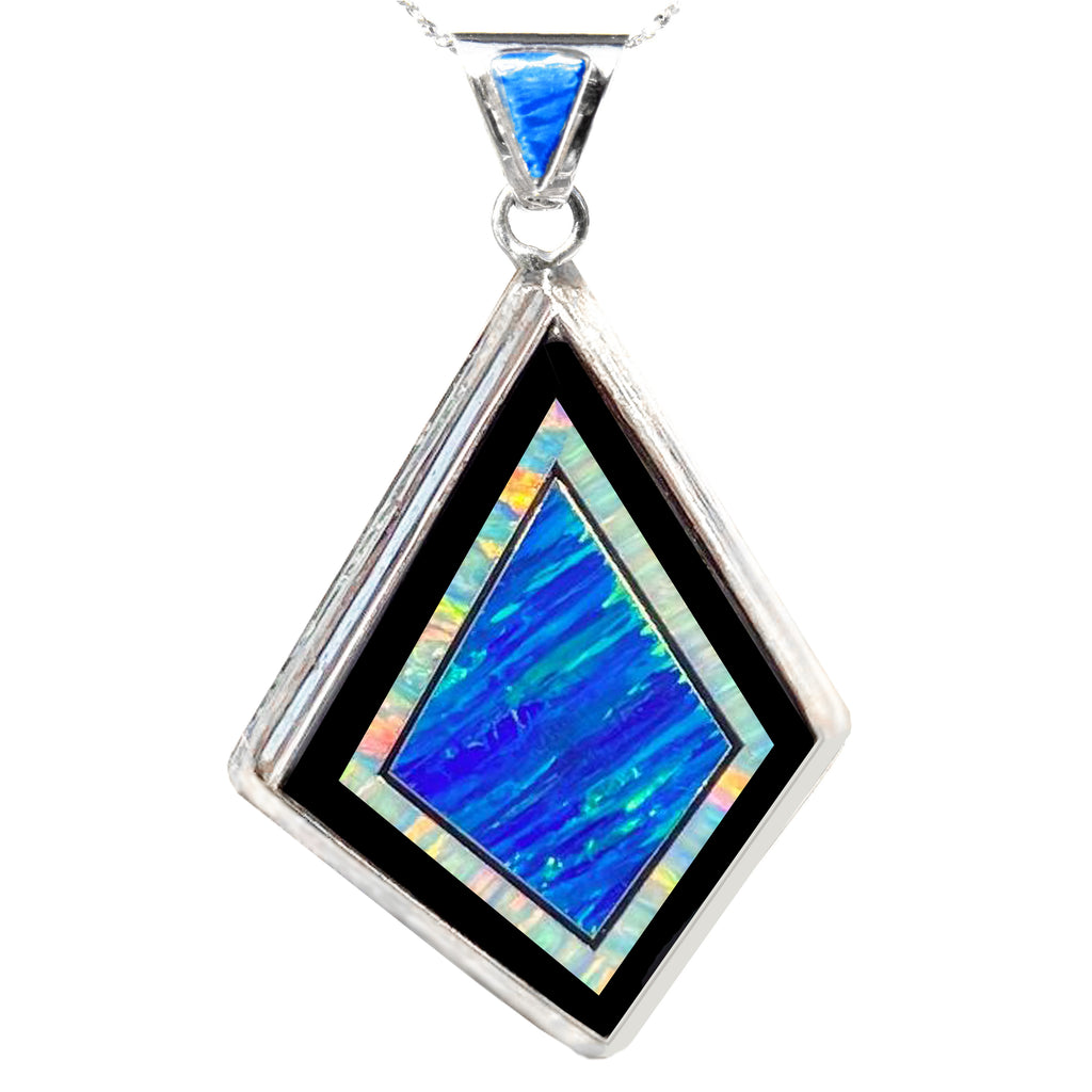 280L - Large Blue and White Opal Pendant