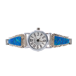 LW3 - Multi-stone Caribbean Blue Opal Ladies Watch in Sterling Silver- Perfect Elegant gift for Women, Birthdays, and Weddings  (CHOOSE YOUR WRIST SIZE)