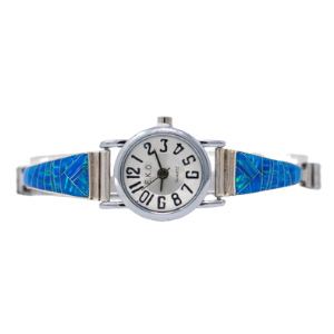 LW2 - Multi-stone Caribbean Blue Opal  Ladies Watch in Sterling Silver- Perfect Elegant gift for Women, Birthdays, and Weddings  (CHOOSE YOUR WRIST SIZE)