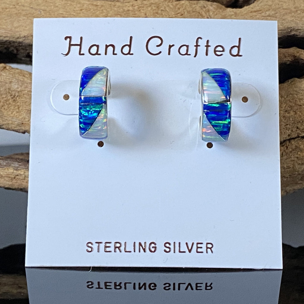 416ER - CARIBBEAN BLUE OPAL AND WHITE FIRE OPAL HOOP EARRINGS