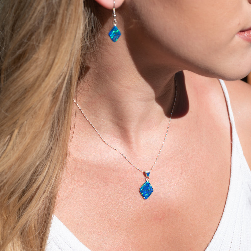 571ER (small) - CARIBBEAN BLUE OPAL EARRINGS