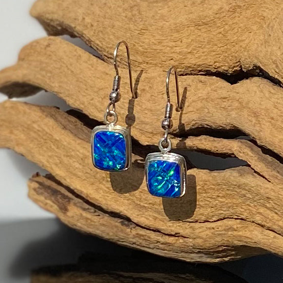 596ER - CARIBBEAN BLUE OPAL EARRINGS
