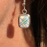 596ER White Opal Earrings