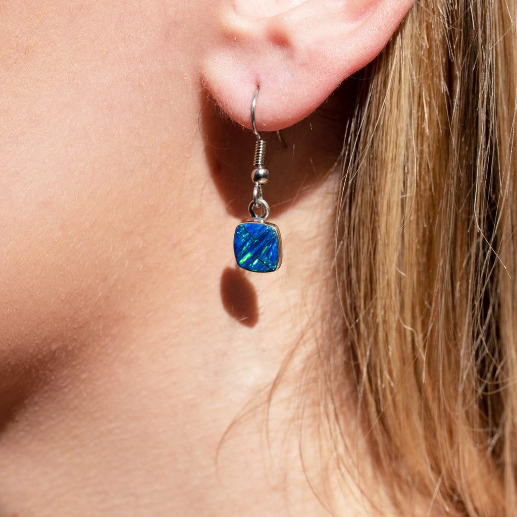 600sm-ER  SMALL CARIBBEAN  BLUE OPAL EARRINGS
