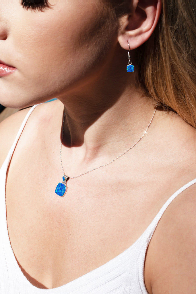 600sm-SET  SMALL BLUE OPAL PENDANT AND EARRING SET