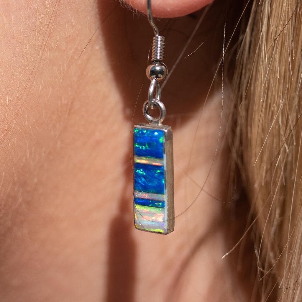 715SET - BLUE AND WHITE OPAL PENDANT AND EARRINGS SET