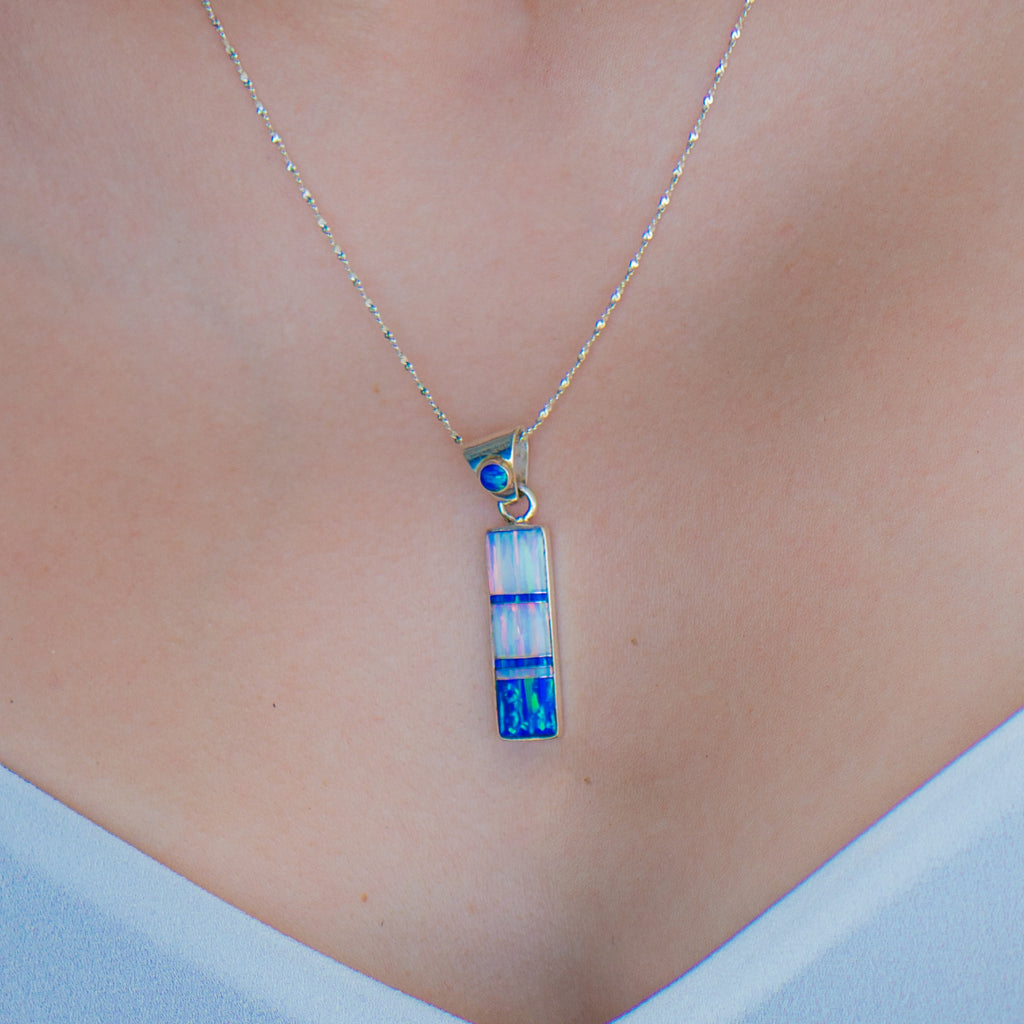715PD - WHITE AND BLUE OPAL PENDANT