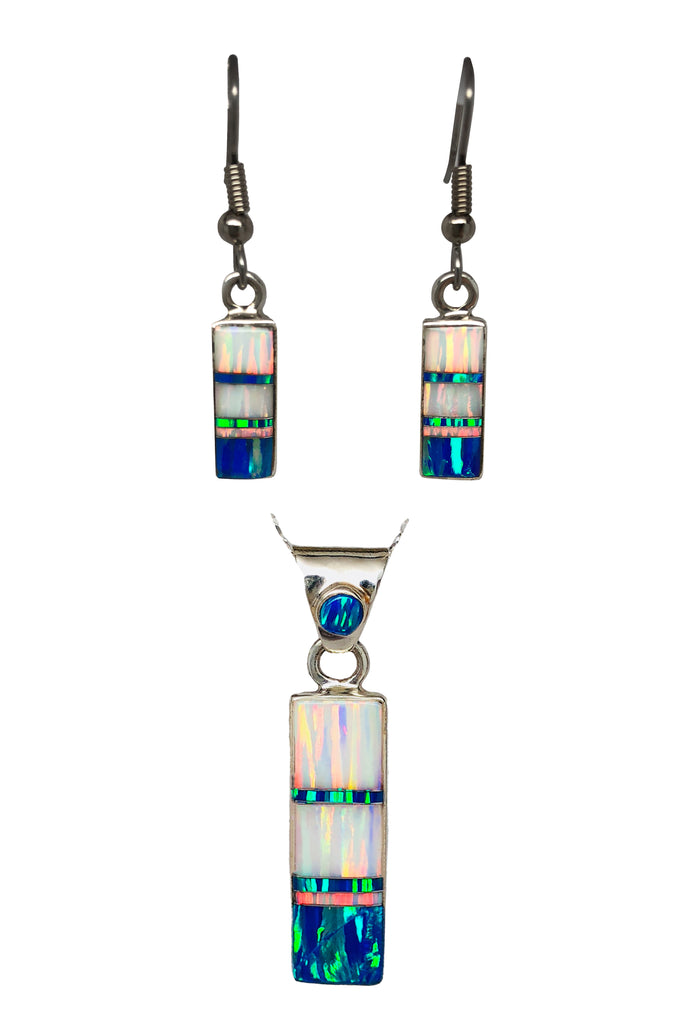 715SET - WHITE FIRE OPAL AND  CARIBBEAN BLUE OPAL PENDANT AND EARRINGS SET