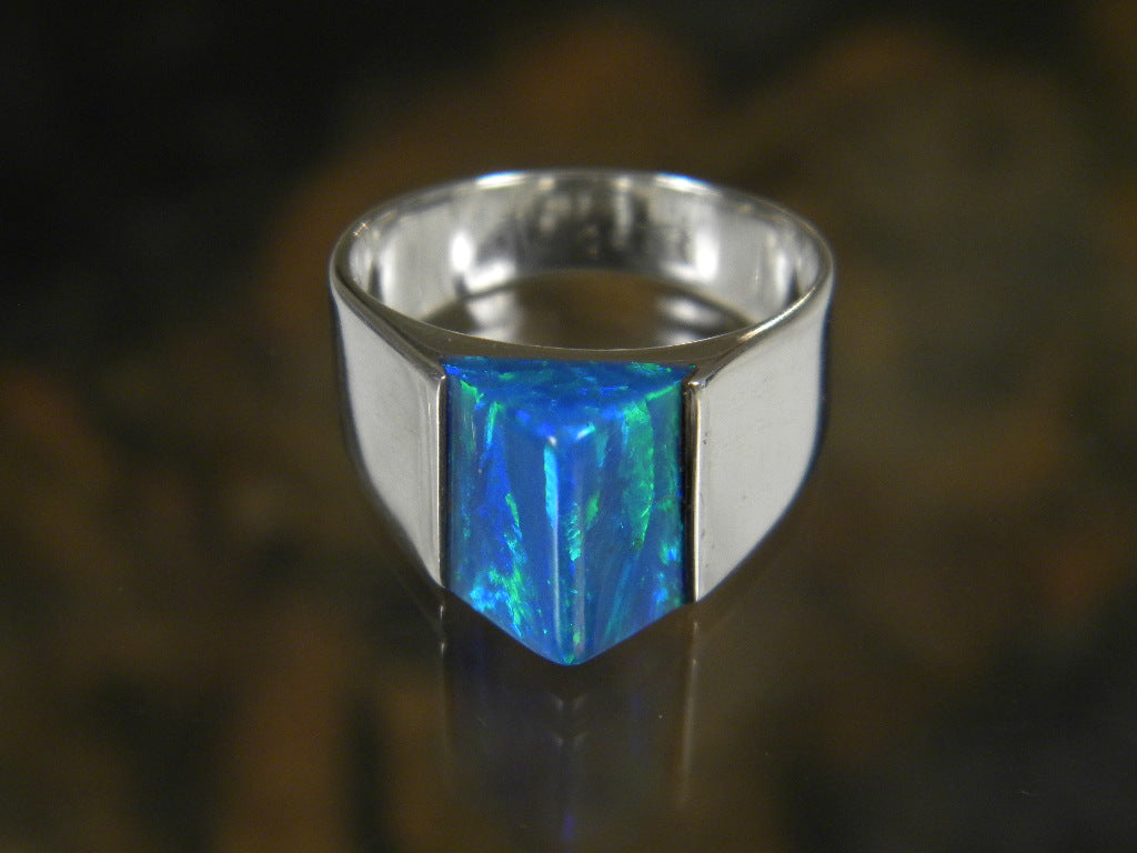 LR75 - Caribbean Blue Opal Ring set in Sterling Silver- Perfect Elegant gift for Women, Birthdays, and Weddings