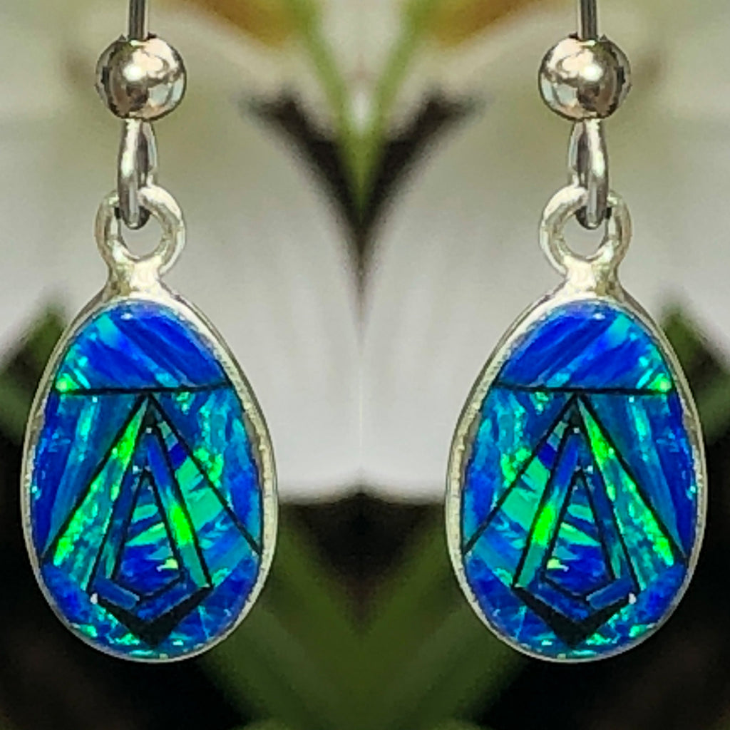 760/761SET - BLUE OPAL PENDANT AND EARRINGS SET