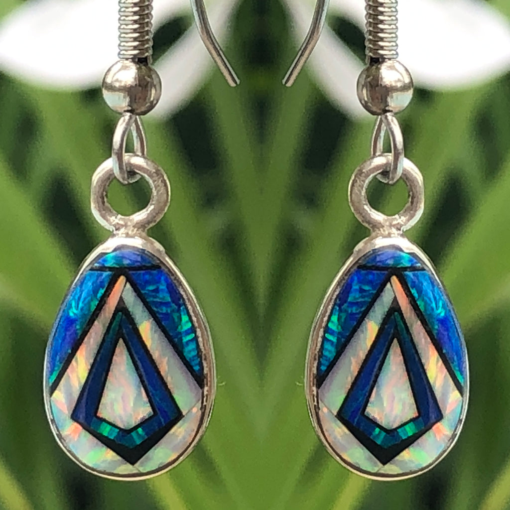 760/761ERbop -  CARIBBEAN BLUE OPAL EARRINGS