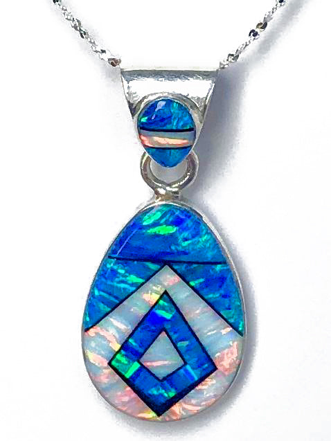 761PD -  CARIBBEAN BLUE OPAL AND WHITE FIRE OPAL PENDANT