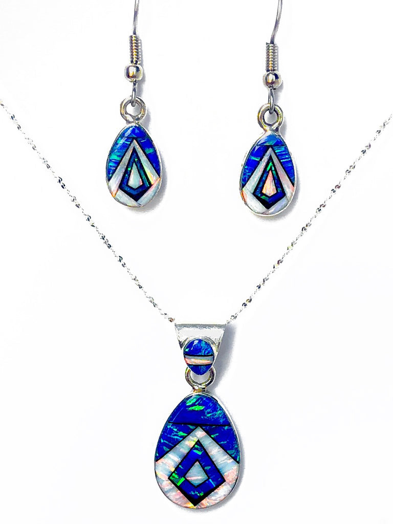 761ER - BLUE AND WHITE OPAL EARRINGS