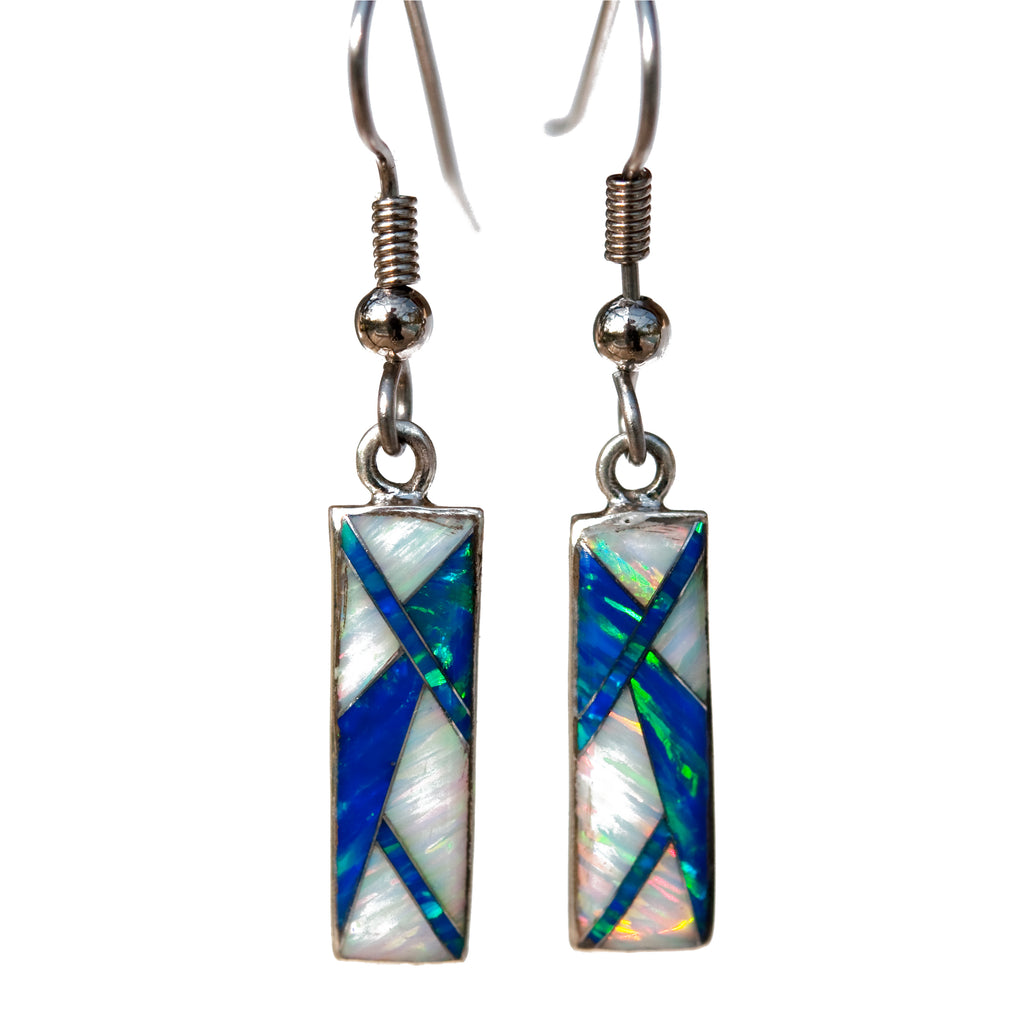 766ER -  CARIBBEAN BLUE OPAL AND WHITE FIRE OPAL EARRINGS