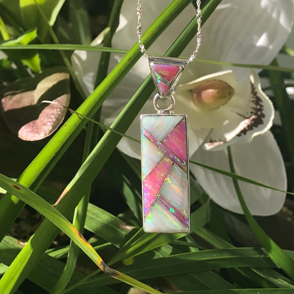 766ER - PINK AND WHITE OPAL EARRINGS