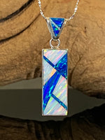766PD - BLUE AND WHITE OPAL PENDANT