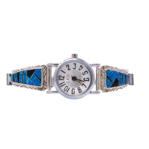 LW3 - Multi-stone Caribbean Blue Opal and Black Jet Stone Ladies Watch in Sterling Silver- Perfect Elegant gift for Women, Birthdays, and Weddings  (CHOOSE YOUR WRIST SIZE)
