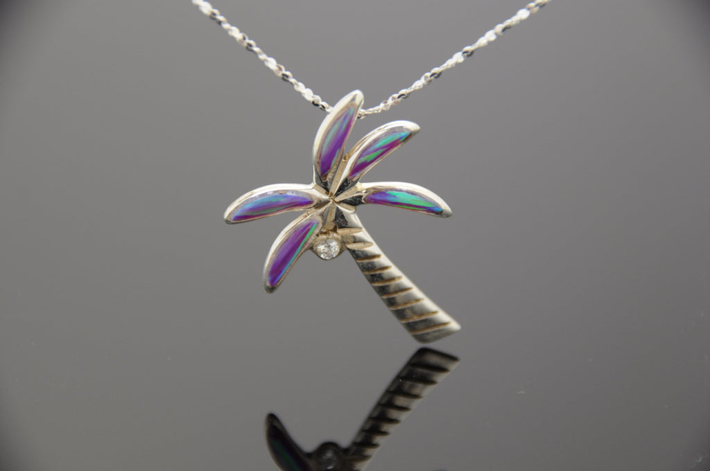 Opal Palm Tree Pendant (Choose A Size and Color)