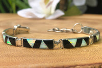 BR61 WHITE FIRE OPAL AND BLACK JET STONE BRACELET