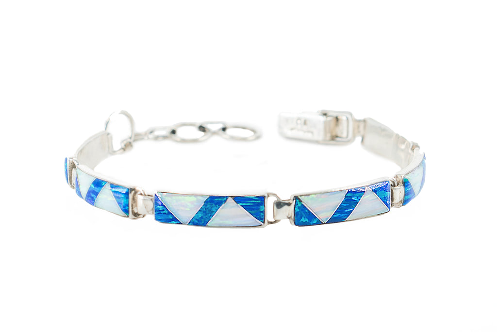 BR61 BLUE AND WHITE OPAL BRACELET