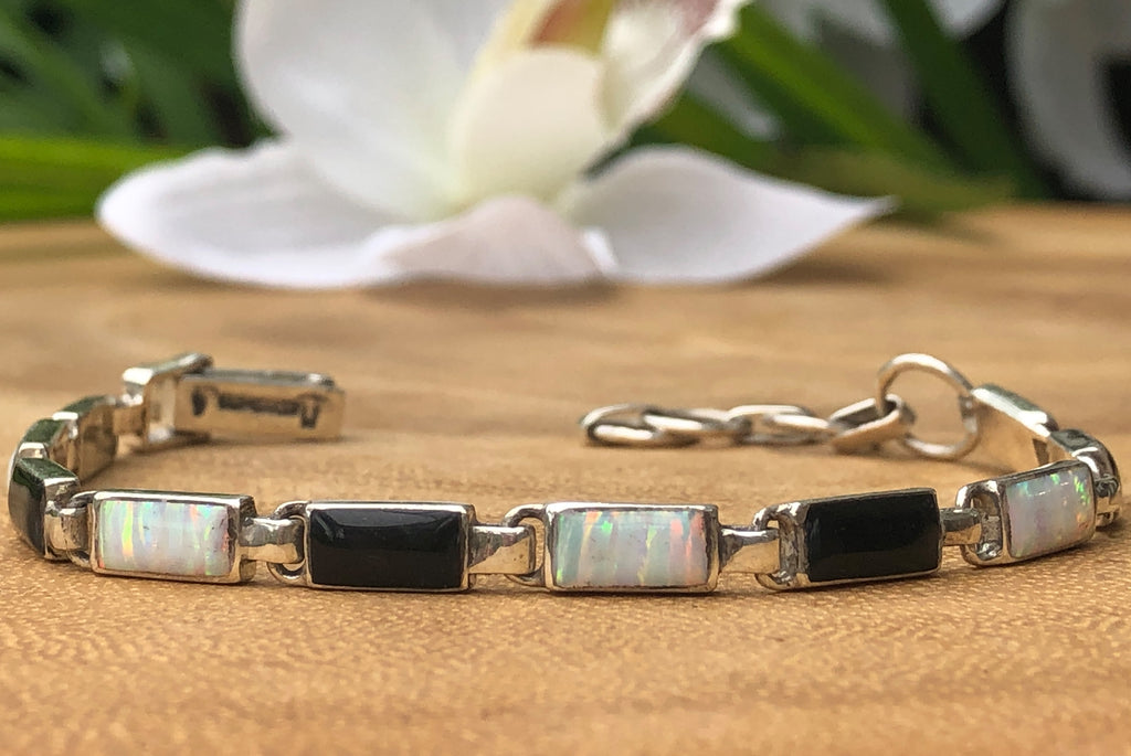 black white Rectangular Fire Opal Ladies Tennis Bracelet Fashion Jewelry Gift for Women and Girl Sterling Silver Beaded Bracelet from (insert location) handmade Birthstone womens Adjustable Caribbean bride link