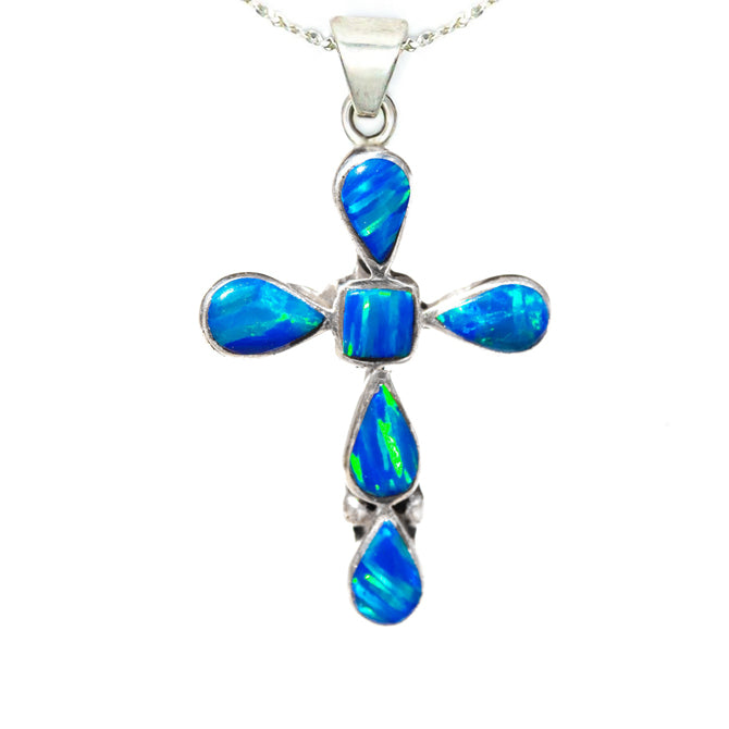CR3 - BLUE OPAL TEAR DROP CROSS AND CHAIN (Choose Small or Medium):