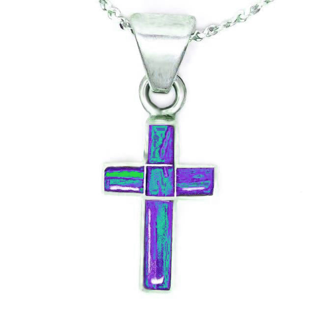 CR51 -  PURPLE OPAL CROSS AND CHAIN - ($20,$28 and $45) - Choose a Size