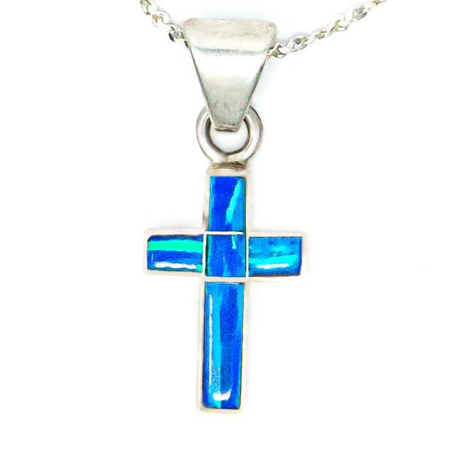 CR51 - BLUE OPAL CROSS AND CHAIN - ($20,$28 and $45) - Choose a Size