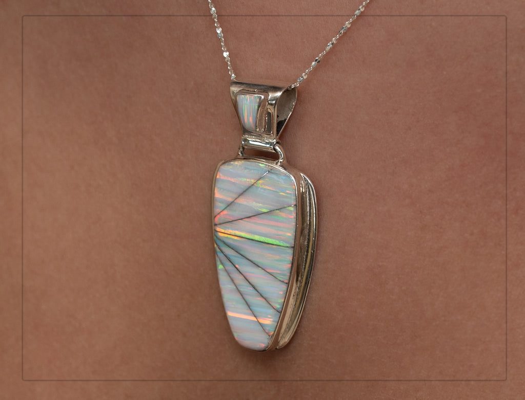 606PD - WHITE FIRE OPAL PENDANT (choose medium or large)