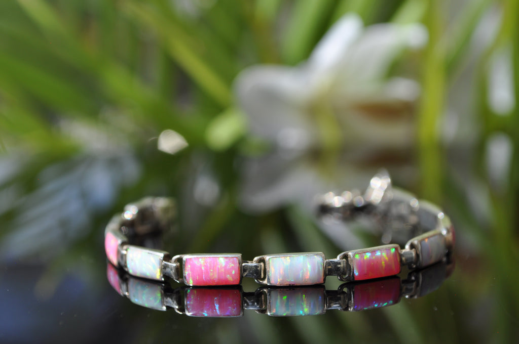 BR62 PINK OPAL AND WHITE FIRE OPAL BRACELET
