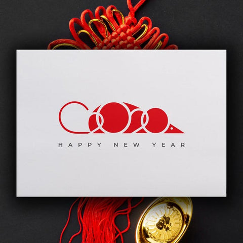 The 5 Best Modern Minimal Chinese new year greeting cards_year of the rate_digital