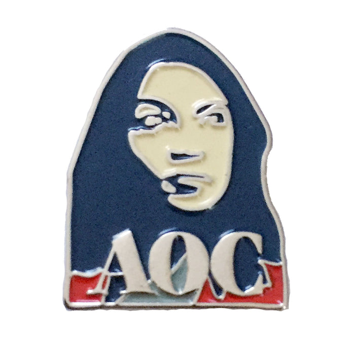 Alexandria Ocasio Cortez pin white background