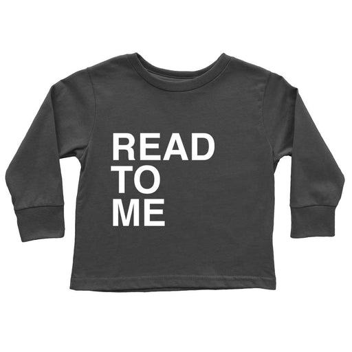 Funny black read to me cotton long sleeve shirt flat lay ribbed collar