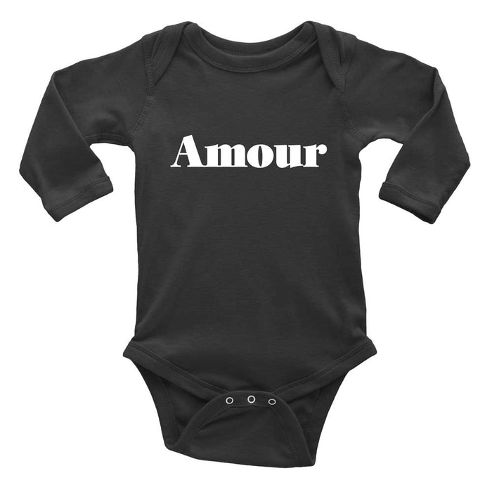 Black long sleeve Amour baby onesie for baby girl or boy