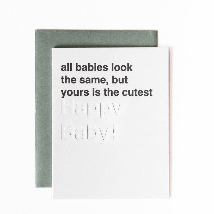 letterpress baby girl cards with blind impression