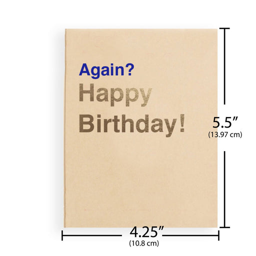Sarcastic tan happy birthday card for sister with letterpress and gold foil