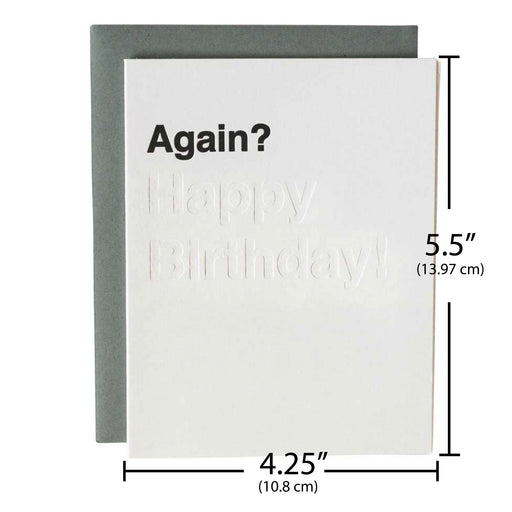 Letterpress 18 birthday card again happy birthday