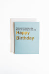 Modern minimal snarky birthday greeting card with text Hope you are having a day that is as amazing as you are in light blue.