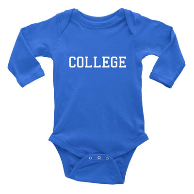 blue college long sleeve baby bodysuit animal house present
