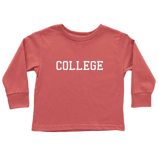 Red Funny Toddler Long Sleeve Tee That States College