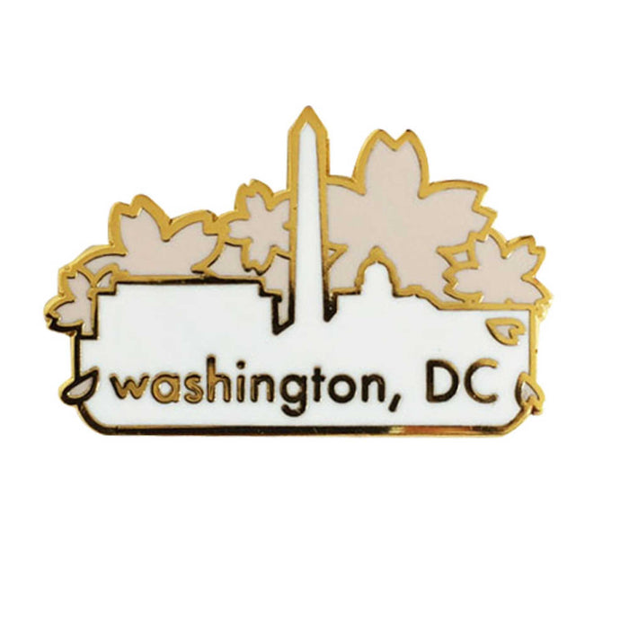 Washingtin DC Cherry Blossom pin white background