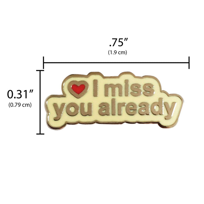 Going away gift pin measurement